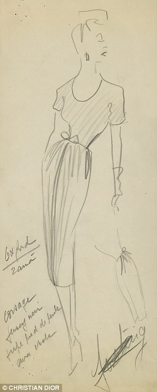 A sketch for theSpring-Summer 1947 collection,