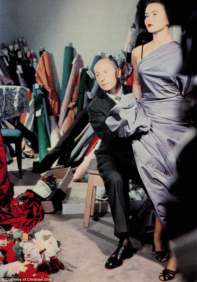 Couture garments will also be shown alongside photographs and illustrations. Pictured is Christian Dior with model Sylvie, circa 1948