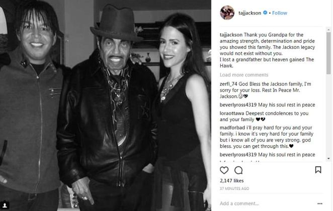 Grandson Taj also shared a tribute to Jackson on Instagram, writing: 'The Jackson legacy would not exist without you'