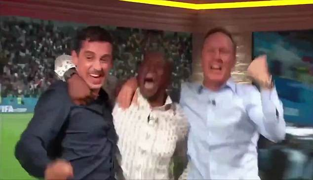 Former England players Wright, Dixon and Neville could not hide their emotions