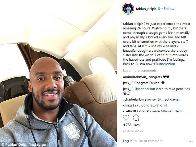 Delph posted a picture on Instagram of him on a plane heading back to Russia this afternoon