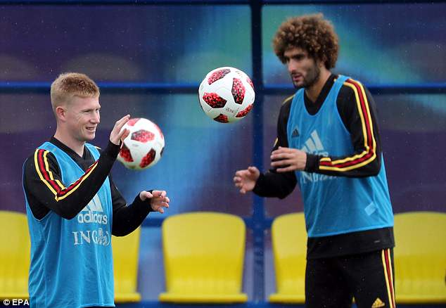 Kevin De Bruyne and Marouane Fellaini train with the Belgium team on Wednesday afternoon