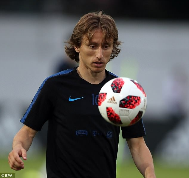 Luka Modric keeps his eyes on the ball as Croatia trained at the base in Sochi on Wednesday