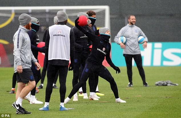 The rest of the players took part in a dodgeball-style training exercise inZelenogorsk