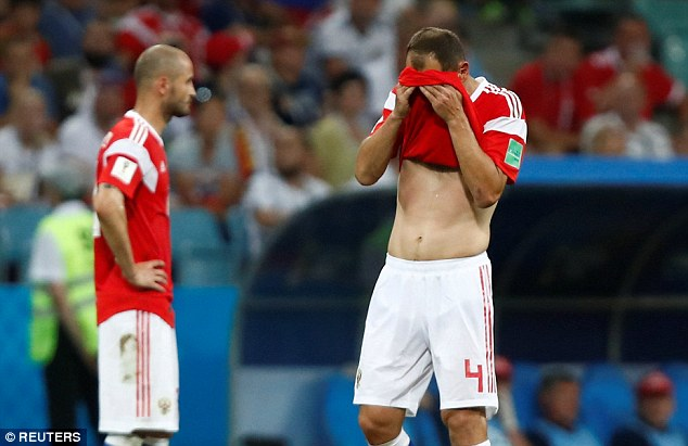 The 38-year-old tries to hide his tears after Croatia knock Russia out on penalties on Saturday