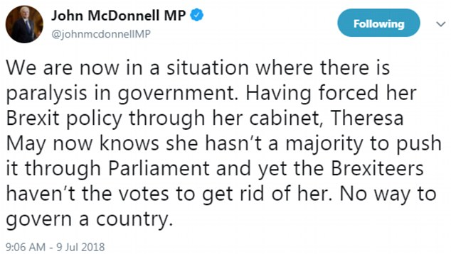 Mr. McDonnell said that the government does not have a majority in parliament, suggesting that Ms. May should convene another early election to reach a clear conclusion