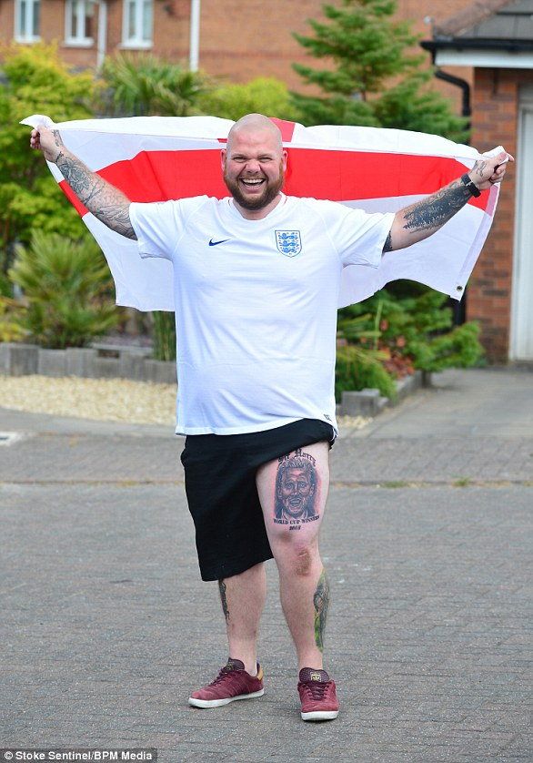 England fan Teddy Allen, pictured, has had an image of striker Harry Kane inked on his leg to show support for the team ahead of the World Cup semi final