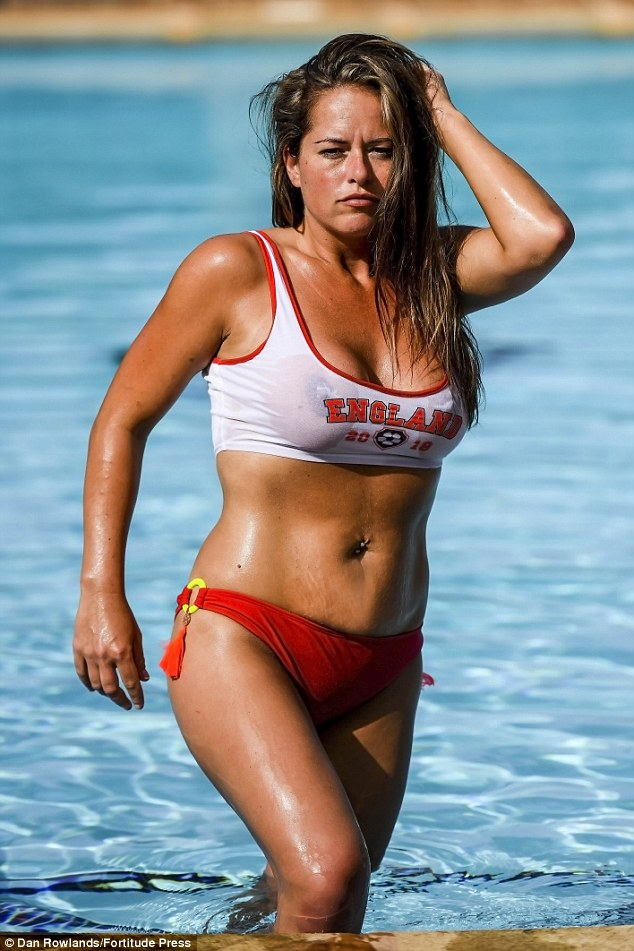 The red and white bikini top contained a football-inspired England logo emblazoned with 2019, which she teamed with a pair of matching bottoms