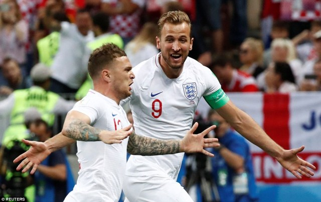 Captain Harry Kane and the goalscorer cannot contain their delight after taking an early lead in Moscow on Wednesday
