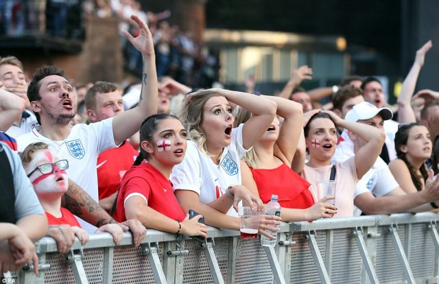 Shocked fans reacted in Manchester as England conceded a goal against Croatia in the second half of the semi-final clash in Russia.