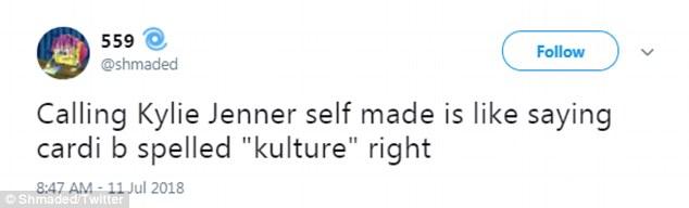 Nein: Das Internet erhellte sofort Reaktion und beharrte darauf, dass ihre privilegierte Erziehung der Definition widersprach
