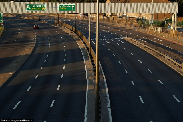 Meanwhile on the roads:The junction of the A406 and the M1 is seen during the second half of the World Cup semi-final match between England and Croatia and was almost entirely empty