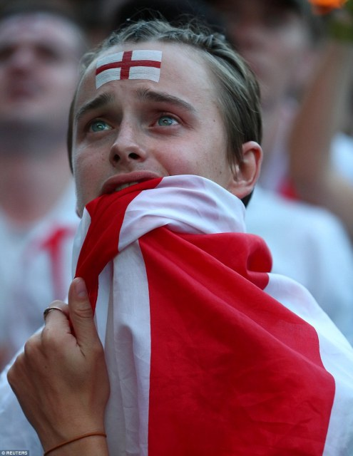 Flat Iron Square: England fans struggled to hide their anguish as the game went to extra time only for Croatia to strike a winner