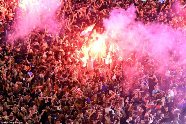 Thousands of Croats took to the streets of Zagreb, their nation's capital, after Mario Mandzukic's extra-time goal finished off England in Moscow