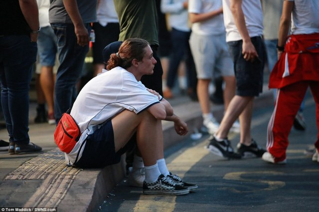 Nottingham: A man sat silent on the curb after the 120-minute whistle blew ending the game at 2-1 to Croatia - and with it - England's hopes of World Cup glory