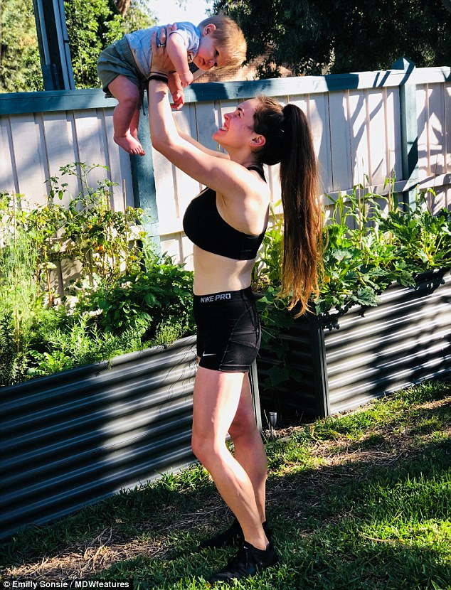 Emilly Sonsie, of Melbourne, (pictured with her son Hunter) says her poor diet was the reason why she struggled with fertility issues