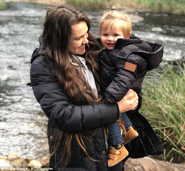 Ms Sonsie (pictured with Hunter) shared she found stability in a vegan lifestyle after being plagued for years with an eating disorder