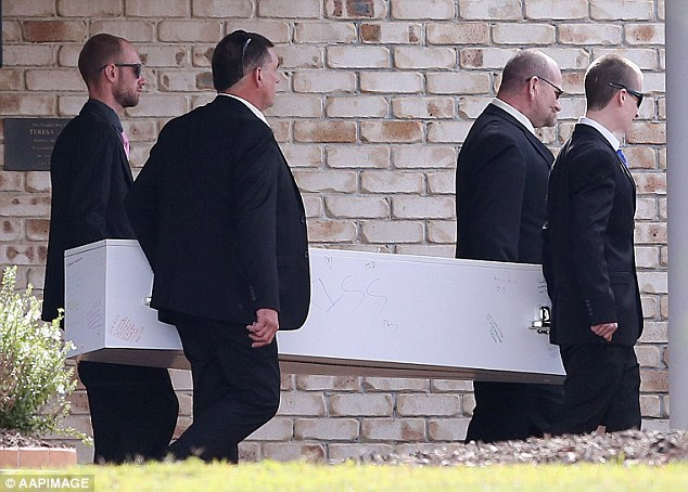 Larissa's father (pictured, second right) and brother (pictured, left) were among the pallbearers at a private service held on Brisbane's northside on Thursday