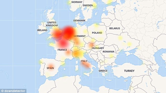 Europe was hit the hardest, with a large volume of issues found throughout the continent. France, UK, Belgium and Italy are just some of the countries where residents were unable to access Facebook
