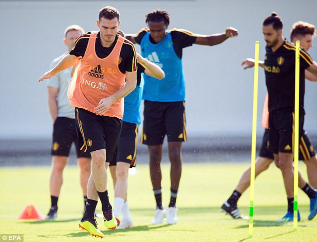 Thomas Vermaelen works out with Belgium team-mates as they try and pick themselves up