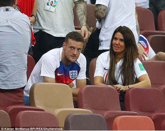 Rebekah Vardy wife of Jamie Vardy of England together at the end of the game Croatia v England
