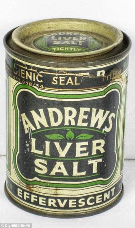 This image shows a perfectly preserved Andrews Liver Salts tin