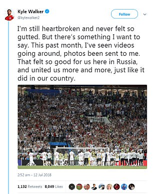 Kyle Walker took to social media to thank the fans after their defeat