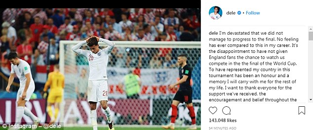 Alli revealed how he was feeling in a post on his Instagram page on Thursday evening