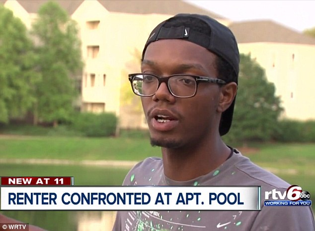 Shayne Holland (pictured) was asked to leave the pool at his apartment complex last Friday even after confirming he lived in the building and was allowed to be there