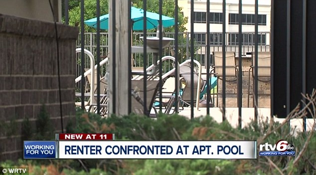 Barrett & Stokely, the company that manages the River Crossing complex, said they were taking Holland's claims seriously and continuing to investigate (pictured is the pool)