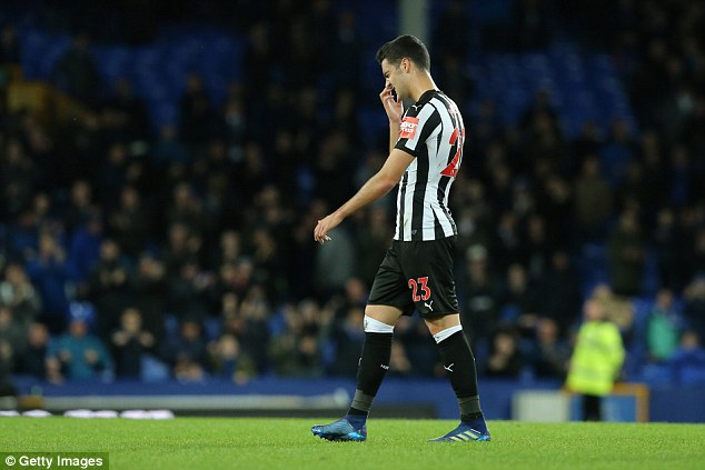 Merino pictured playing for Newcastle last season against Everton in the Premier League