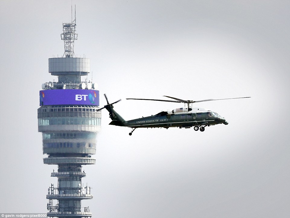 Marine One carrying The Donald and his wife passes the BT Tower and comes in to land at the US Ambassador's central London residence this afternoon