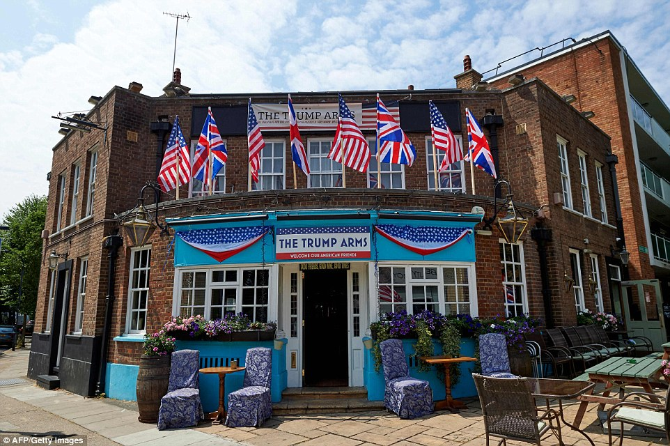 """The exterior of The Trump Arms public house in west London, formally named The Jameson, which has embraced the arrival of US President Donald Trump.Damien Smyth, from County Antrim in Northern Ireland, runs the establishment. He told the i newspaper:""""America is our biggest ally. They're our best friends in the world. They'd be the ones here first if something went wrong – not Germany, not France. I think these people protesting his visit are rude and insulting"""""""