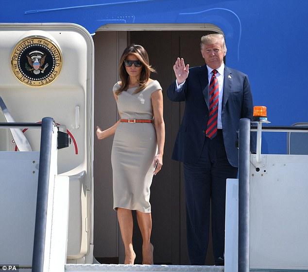 Earlier President Trump and Melania walked from Air Force One as they landed at Stansted Airport this afternoon