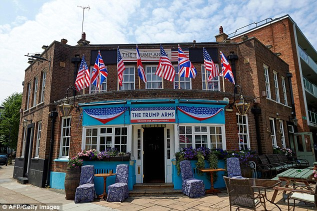 The exterior of The Trump Arms public house in west London, formally named The Jameson, which has embraced the arrival of US President Donald Trump.Damien Smyth, from County Antrim in Northern Ireland, runs the establishment. He told the i newspaper:¿America is our biggest ally. They¿re our best friends in the world. They¿d be the ones here first if something went wrong ¿ not Germany, not France. I think these people protesting his visit are rude and insulting¿
