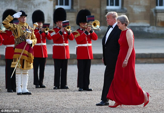Fanfare: Bandsmen from the Scots, Welsh and Irish Guards welcomed the Presidential party to Blenheim Palace last night