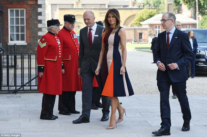 First Lady Melania is getting a tour of London with Philip May today starting at the Royal Hospital Chelsea where she will meet the veteran pensioners and local children