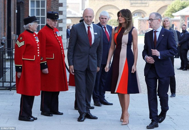 Melania Trump and Philip May have stepped out for a joint engagement in London