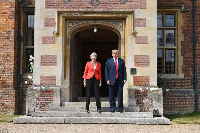 Mrs May is braced for a potentially embarrassing press conference with Mr Trump after their talks at Chequers today