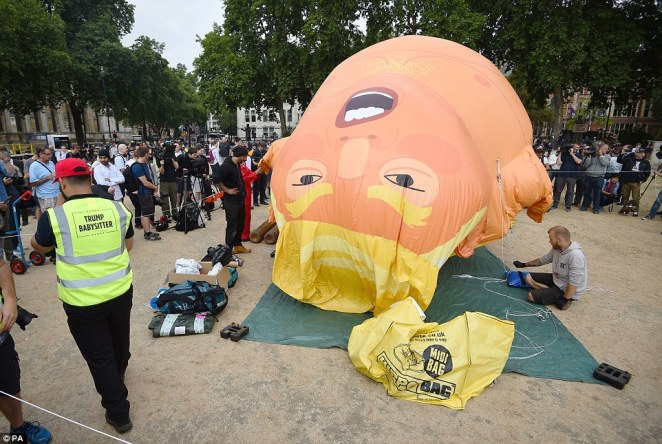 "Matthew Butcher, an anti-Trump campaigner and one of the ""babysitters"" of the balloon, said: ""I think that the thing that the Trump balloon does is that it brings an element of fun to the protests, but it also gets under Donald Trump's very thin skin."""