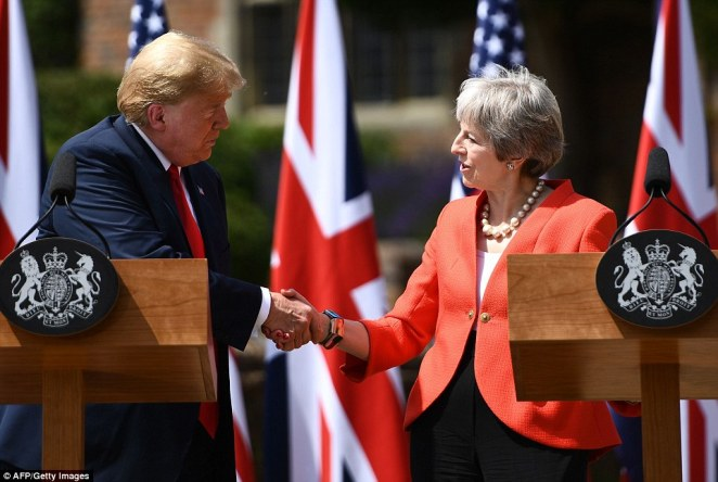 Mrs May said that they would be pursuing an 'ambitious' trade deal and Mr Trump said today was about celebrating the special relationship between America and Britain and said it was a 'bond like no other' as they fought to repair the special relationship