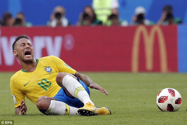 When you see a footballer such as Neymar (pictured) dive on the pitch you might lose a bit of respect for them.However, these devious squeals designed to deceive the referee could be an effective ancient survival strategy