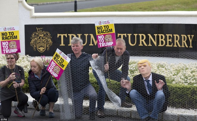If the president is hoping for a quiet weekend at his country resort, he may not be so fortunate. Protests were planned at his stops across the U.K., including at two commercial properties in Ayrshire and Edinburgh