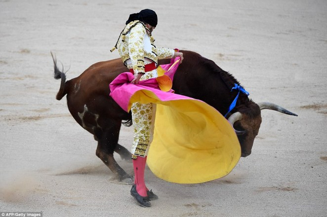 Spanish matador Juan Jose Padilla performs a pass to a Jandilla fighting bull during a bullfight of the festival in Pamplona, northern Spain