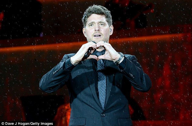 Emotional:Michael Bublé, 41, held back tears as he returned to the stage for the first time since son Noah's cancer diagnosis atBarclaycard presents British Summer Time in London on Friday