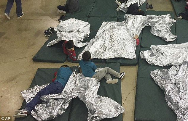 Allison was held at a detention camp with other children (similar pictured), but was recorded asking to call her aunt, whose phone number she memorized, as other children wailed for their parents in the background