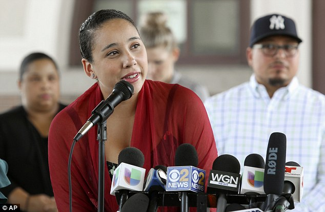 Speaking at a news conference surrounded by leaders of Chicago's Puerto Rican community, Mia Irizarry recounted the June 14 incident that received national attention after release of the video