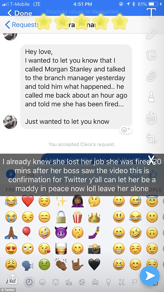 Twitter users complained to her alleged employer Morgan Stanley, where she works as a financial analyst, where they learned she was fired following the viral video