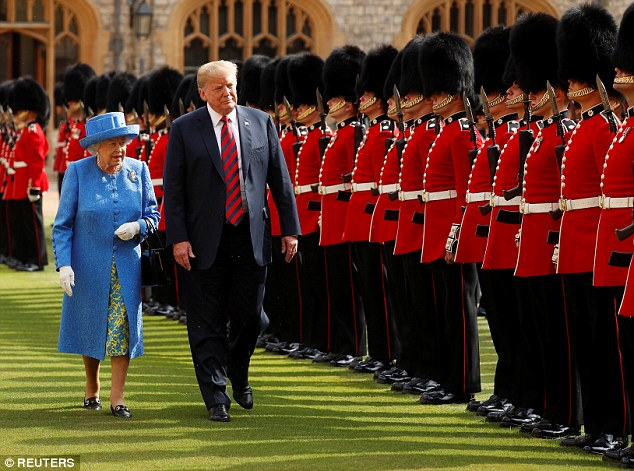 U.S. President Donald Trump and the Queen inspect the Coldstream Guards during a visit to Windsor Castle in Windsor, July 13