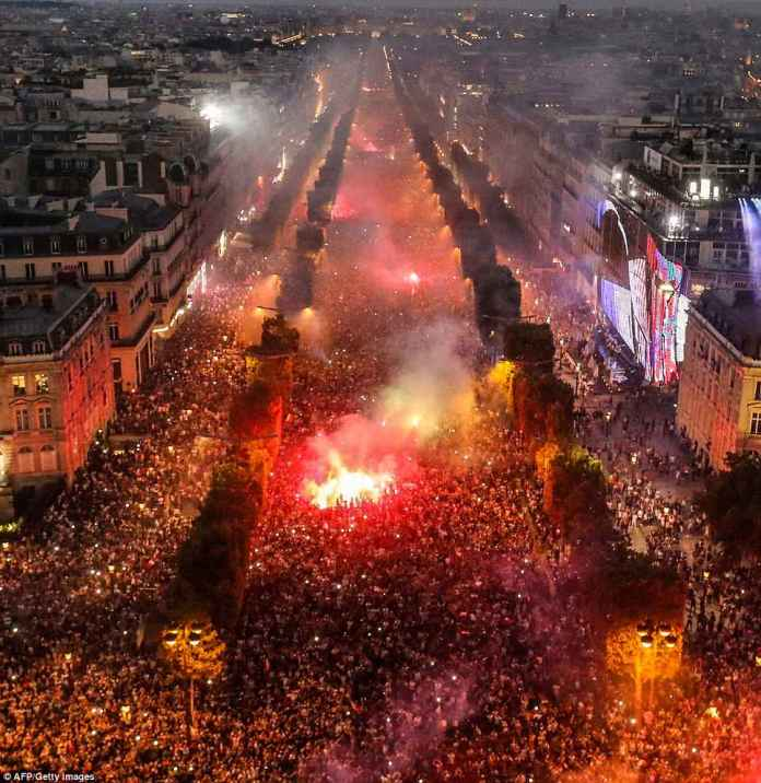 It was a victory for all of France as crowds poured into Paris' Champs-Elysees Avenue (pictured) by the tens of thousands